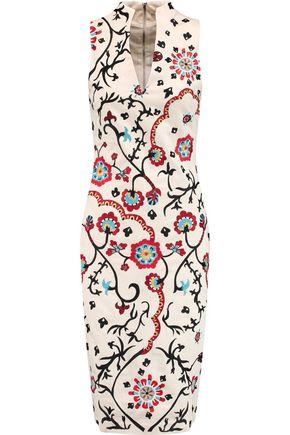 ALICE + OLIVIA Jacki embroidered cotton-blend canvas dress