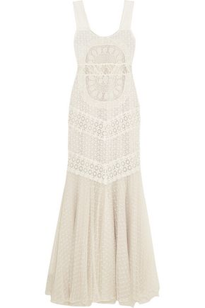 ALICE + OLIVIA Kimberley embroidered tulle and point d'esprit maxi dress