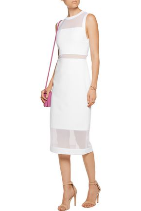 ALICE + OLIVIA Karman mesh-trimmed crepe dress