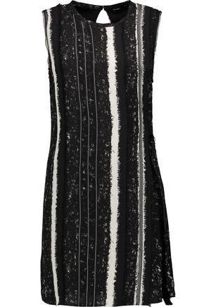 PROENZA SCHOULER Fringe-trimmed striped silk mini dress