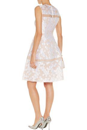 LELA ROSE Organza-paneled fil coupé dress