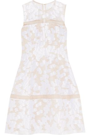 LELA ROSE Organza-paneled fil coupé dress