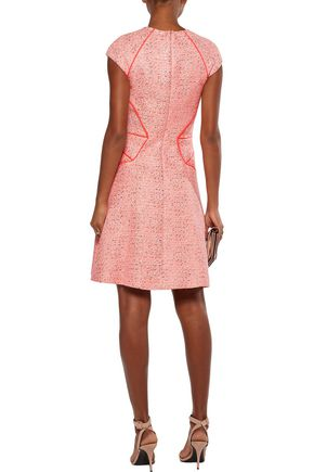 LELA ROSE Metallic and neon tweed dress