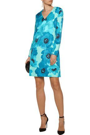 LELA ROSE Floral-print stretch-crepe dress