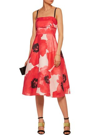 LELA ROSE Floral-print silk-crepe midi dress