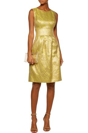 LELA ROSE Pleated metallic cloqué dress