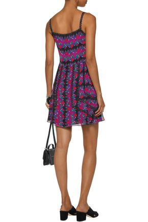 ANNA SUI Lace-trimmed printed silk-voile mini dress
