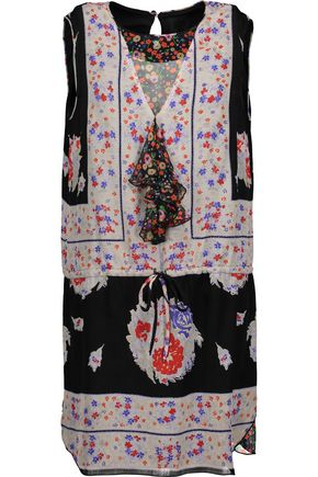 ANNA SUI Ruffle-trimmed printed silk-voile mini dress