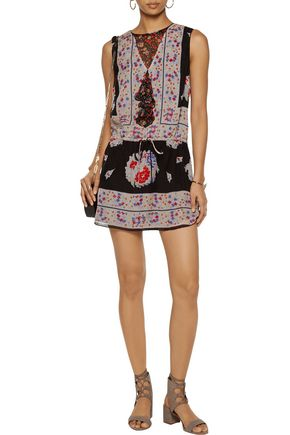 ANNA SUI Ruffle-trimmed printed silk-voile mini dress