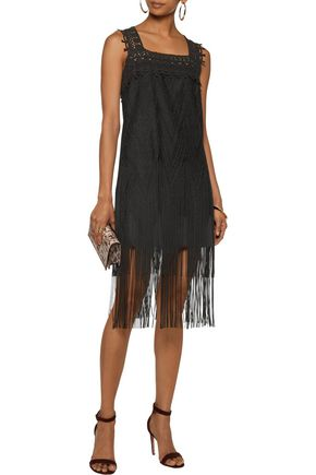 ANNA SUI Lace-paneled fringed glittered crochet-knit dress