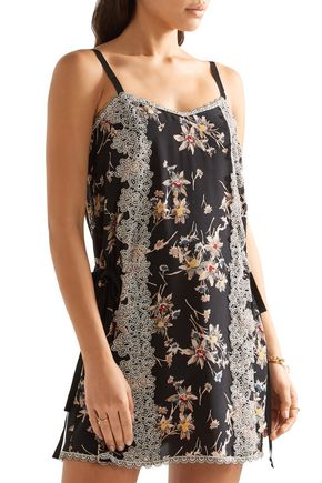 ANNA SUI Lace-paneled printed silk crepe de chine mini dress