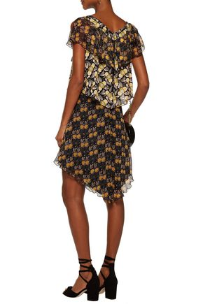 ANNA SUI Ruffled tiered printed silk-chiffon dress