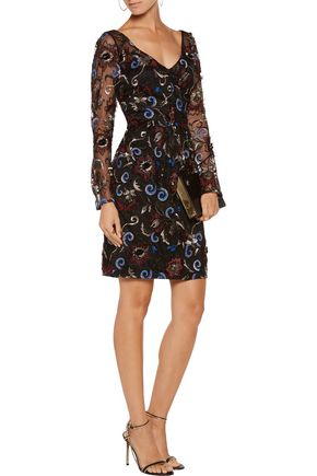 MIKAEL AGHAL Embroidered tulle mini dress