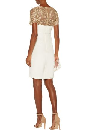 MIKAEL AGHAL Embroidered tulle-paneled silk crepe de chine dress