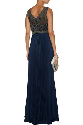 MIKAEL AGHAL Beaded tulle and plissé-crepe gown