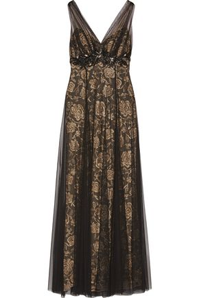MIKAEL AGHAL Embellished floral embroidered tulle gown