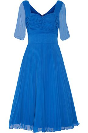 MIKAEL AGHAL Pleated georgette midi dress