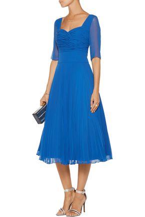 MIKAEL AGHAL Pleated georgette midi dress