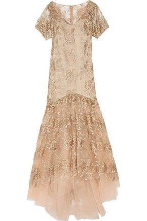 MIKAEL AGHAL Floral-embroidered tulle gown
