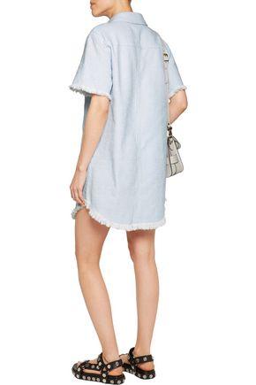 T by ALEXANDER WANG Frayed woven cotton mini dress