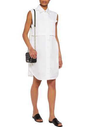 T by ALEXANDER WANG Cotton-blend and satin-twill dress