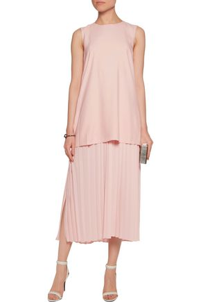 ADAM LIPPES Layered cotton and silk-blend georgette midi dress