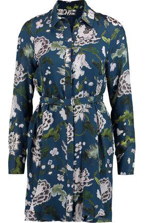 ADAM LIPPES Belted floral-print silk mini shirt dress