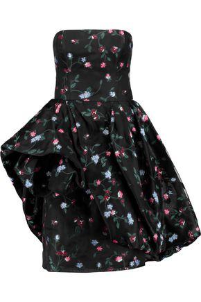 OSCAR DE LA RENTA Strapless floral-embroidered mesh dress