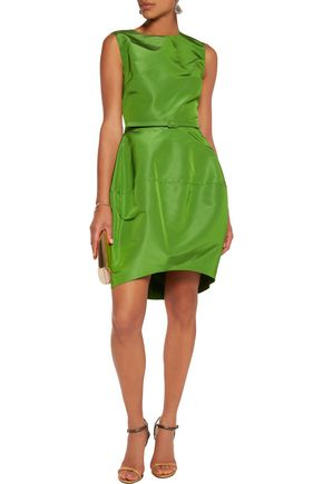 OSCAR DE LA RENTA Belted silk-faille mini dress