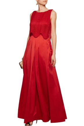 BADGLEY MISCHKA Layered lace and pleated satin gown