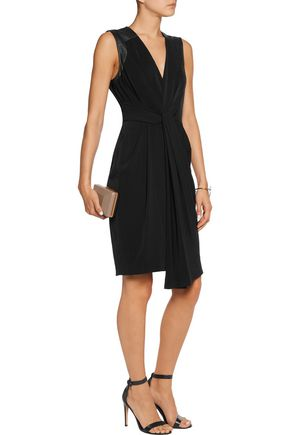 HALSTON HERITAGE Leather-trimmed draped crepe de chine mini dress