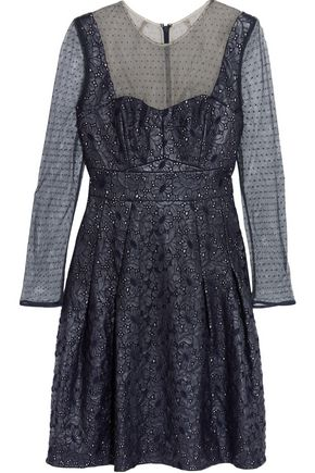ERDEM Swiss dot-paneled embroidered faux leather dress