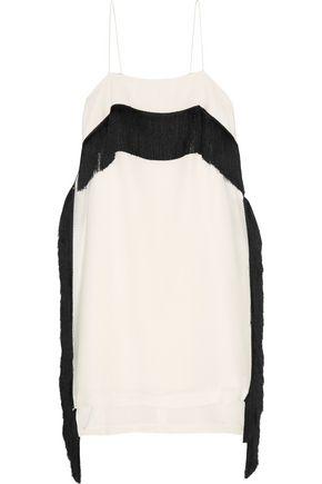 DEREK LAM 10 CROSBY Fringed silk crepe de chine mini dress