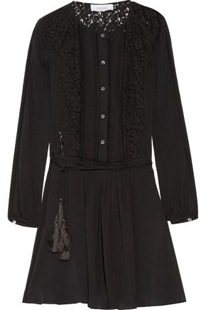 DEREK LAM 10 CROSBY Broderie anglaise-paneled cotton-broadcloth mini dress
