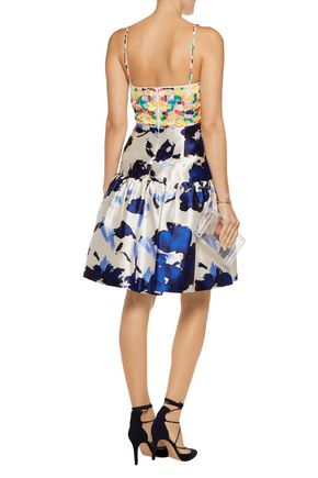 OSCAR DE LA RENTA Sequin-embellished lace and printed silk dress