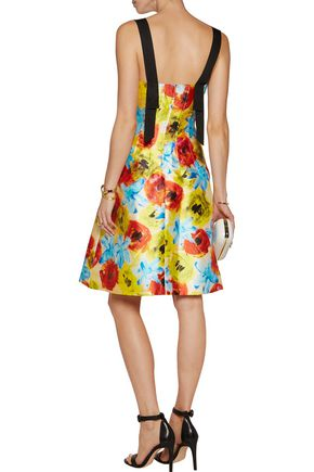 OSCAR DE LA RENTA Embellished floral-print silk and cotton-blend twill dress