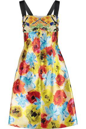 OSCAR DE LA RENTA Embellished floral-print silk and cotton-blend twill dress