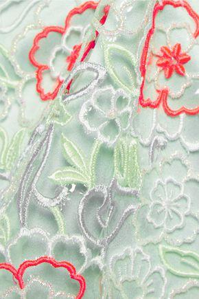 ERDEM Embroidered PVC and silk-satin midi dress