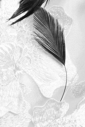 ERDEM Feather-embellished striped silk-blend midi dress