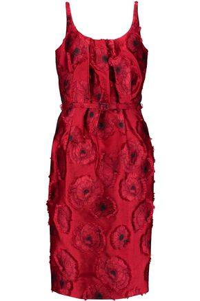 OSCAR DE LA RENTA Belted pleated jacquard dress