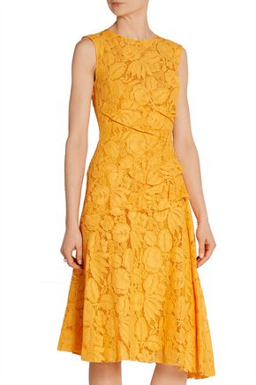OSCAR DE LA RENTA Cotton-blend corded lace dress