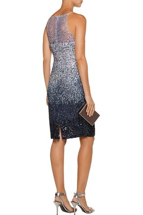 BADGLEY MISCHKA Dégradé sequined tulle dress