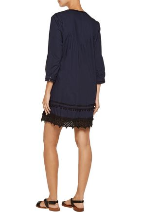 DEREK LAM 10 CROSBY Lace-trimmed pintucked cotton mini dress