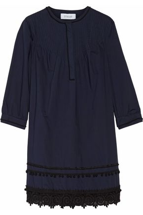10 CROSBY DEREK LAM Lace-trimmed pintucked cotton mini dress