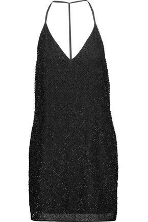W118 by WALTER BAKER Kora beaded crepe de chine mini dress