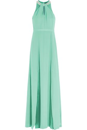 RAOUL Krista bead-embellished cutout silk gown