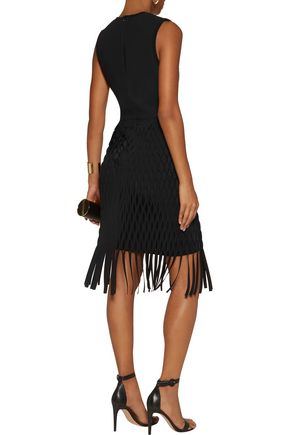 DION LEE Fringed knitted mini dress