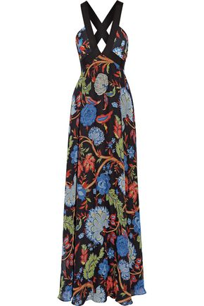 ALICE + OLIVIA Celina grosgrain-trimmed printed chiffon maxi dress