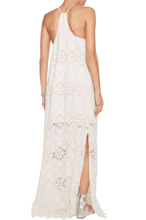 ALICE + OLIVIA Embroidered voile maxi dress