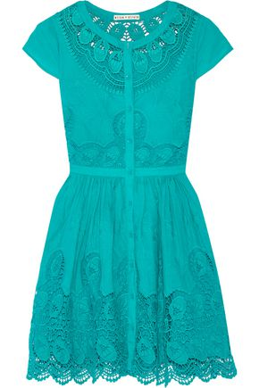 ALICE + OLIVIA Kaley crochet-trimmed embroidered cotton mini dress